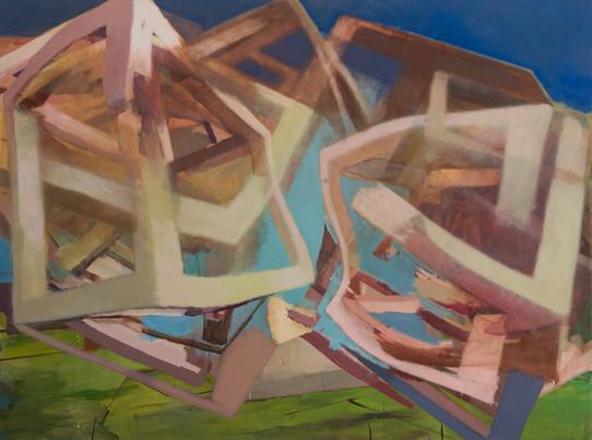 Snakeline 2019 Eitempera, Öl und Pigmente auf Leinwand 120 x 160 cm