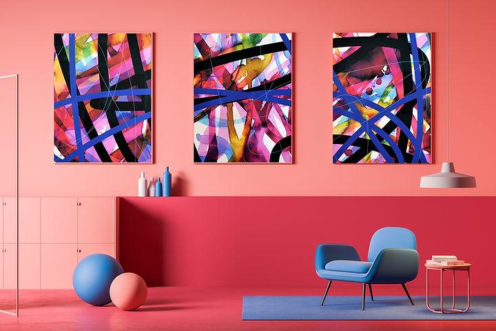 Großes pinkes dreiteiliges abstraktes Kunstwerk