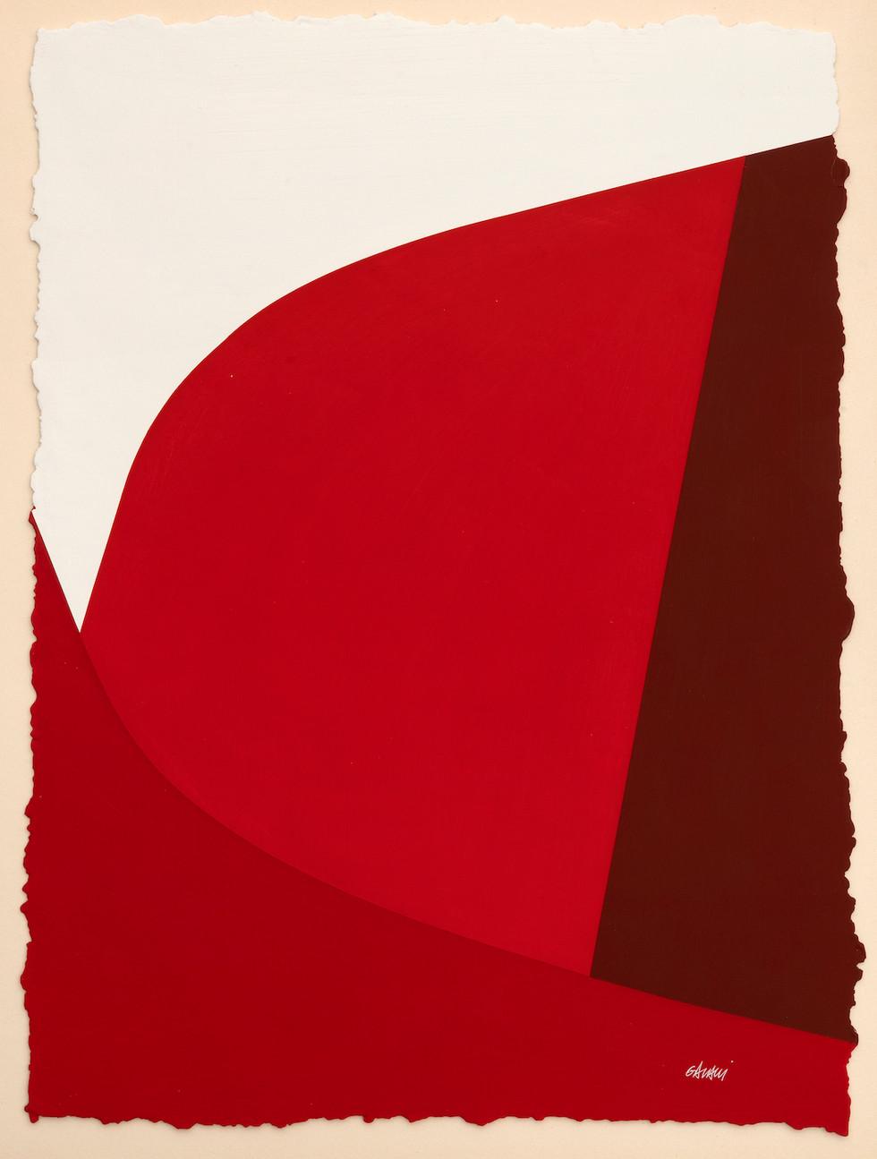Lignes urbaines rouge 1 2019 Acryl auf handgeschöpftem Papier 52 x 38 cm