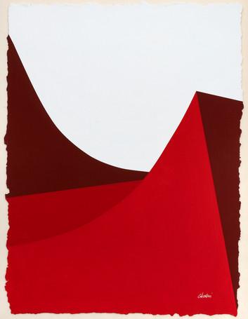René Galassi Lignes urbaines rouge 2019 Acryl, handgeschöpftes Papier 52 x 38 cm