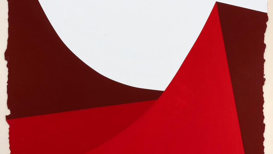 René Galassi Lignes urbaines rouge 2 2019 Acryl auf handgeschöpftem Papier 52 x 38 cm