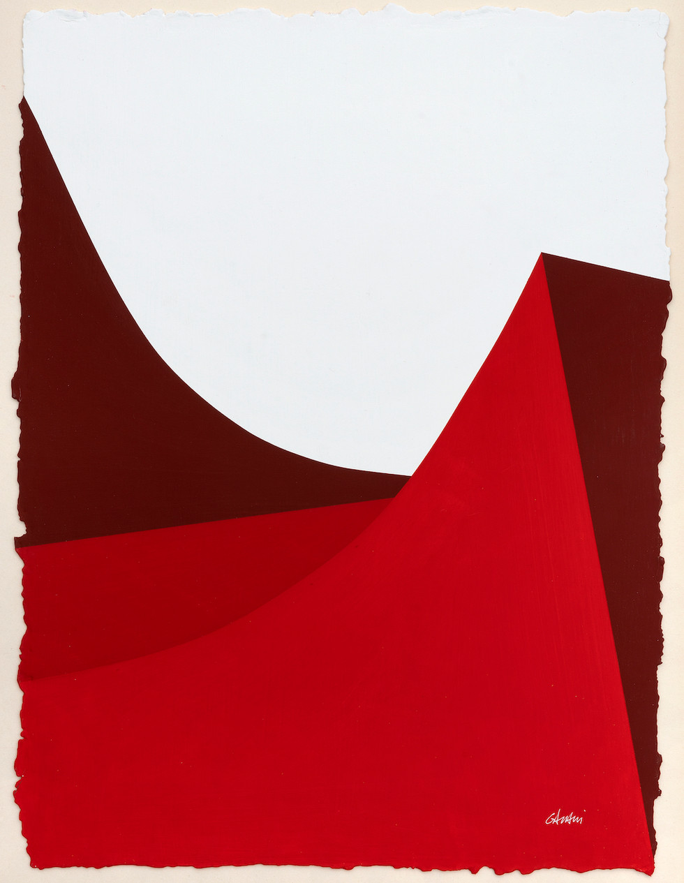 Lignes urbaines rouge 2 2019 Acryl auf handgeschöpftem Papier 52 x 38 cm
