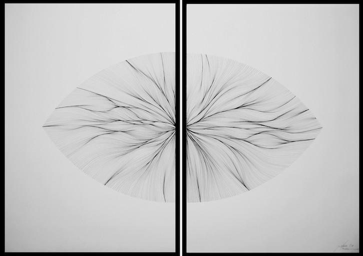 John Franzen Diptychon Each Line one Breath 2014 Fineliner auf Papier 100 x 140 cm