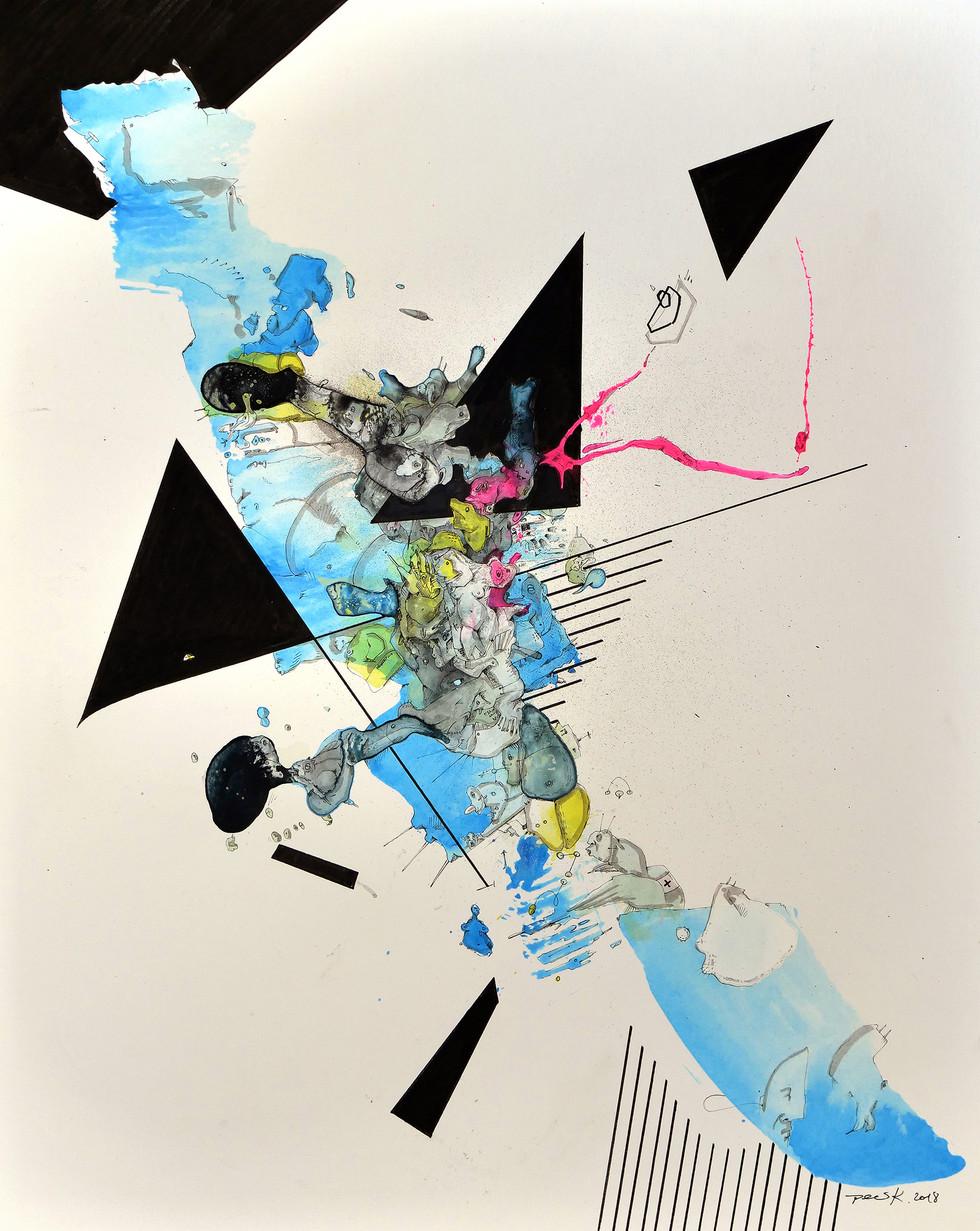 Befreit 2018 Aquarell, Acryl, Pigmenttusche auf Papier 50 x 40 cm  verkauft