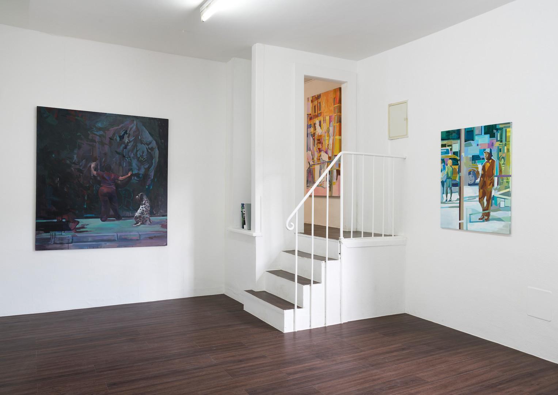 """Ausstellungsansicht """"Eyes wide open"""" in der Kunsthalle Ludwig, Frankfurt: Felix Eckardt Opening 2017 Öl auf Leinwand 155 x 140 cm"""