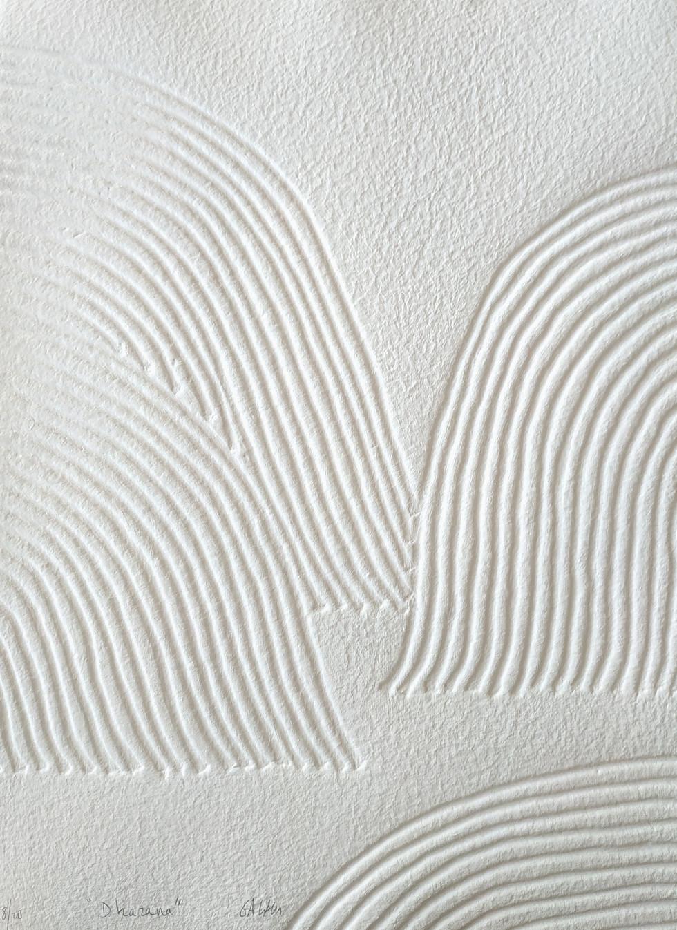 Dharana Papierreliefabdruck, 20 Ex., 77 x 56 cm, verso sign. & num. - verkauft -