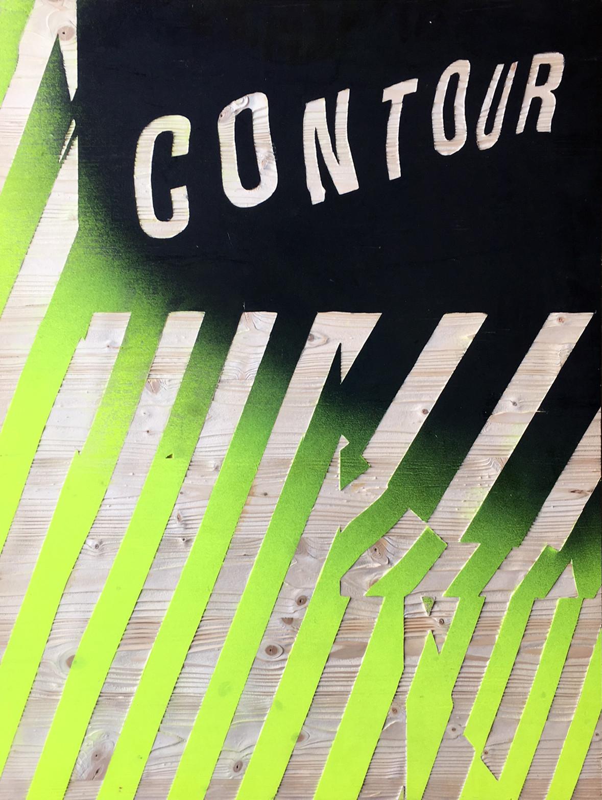 Kai Linke: BLASTED-Contour (in Kooperation mit Pixelgarten), 2011,  Holz mit Lack, gesandstrahlt, 100 x 75 x 1,9 cm