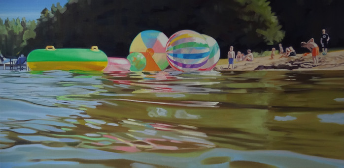 Cameron Rudd Großer Zechliner See II 2020 Öl auf Leinwand 50 x 100 cm