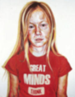 Justine Otto: Great minds think 2005 Öl auf Leinwand 180 x 140 cm
