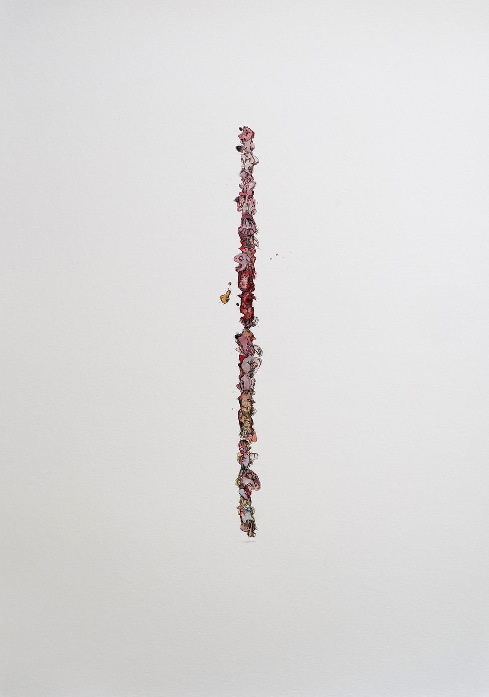"""Peer Kriesel Ganz schön Flesh (aus der Serie """"One Lines"""") 2019 Aquarell, Acryl, Pigmentinte auf Papier, 100 x 70 cm"""