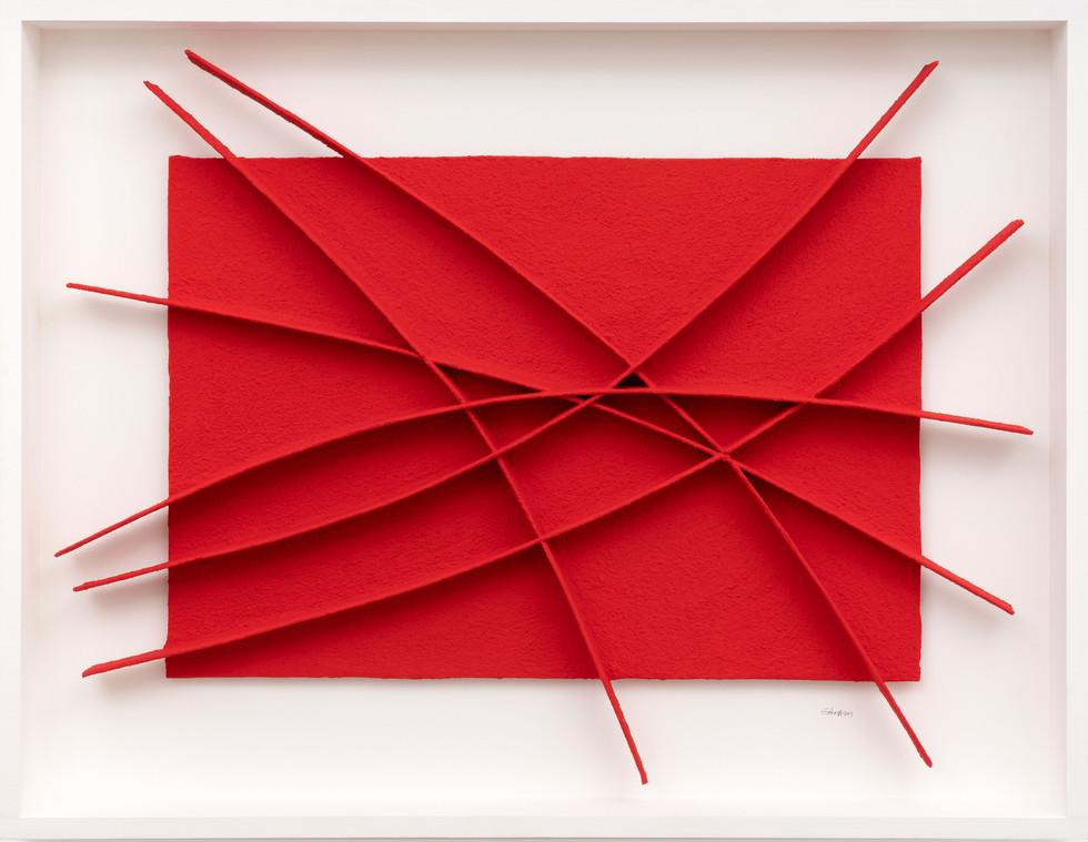 Calicot et pigments rouge 2019 Acryl, Pigmente, handgeschöpftes Papier 75 x 95 cm
