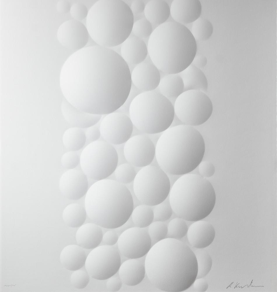 Ralph Kerstner Oxygenflow 2019 Prägung in Büttenpapier 55 x 55 cm Auflage 7 Ex.