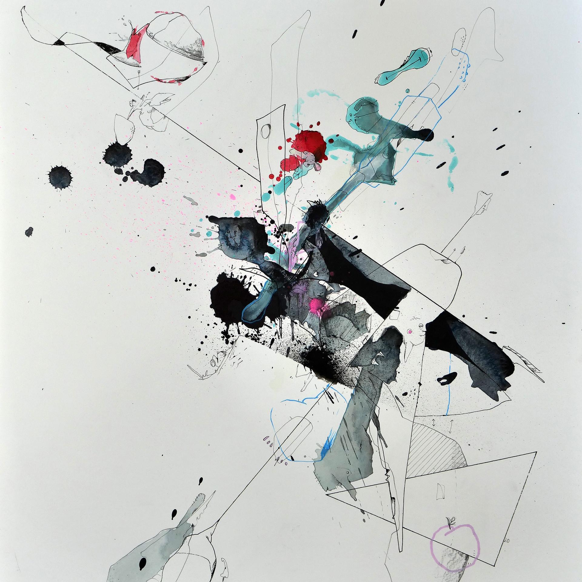 Inklusion 2018 Aquarell, Acryl, Pigmenttinte auf Papier 50 x 40 cm
