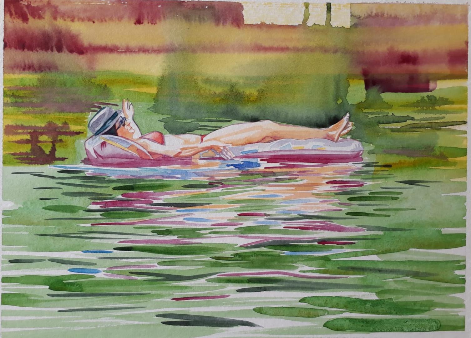 Cameron Rudd Schlachtensee V 2019 Aquarellfarbe auf Papier 50 x 60 cm gerahmt