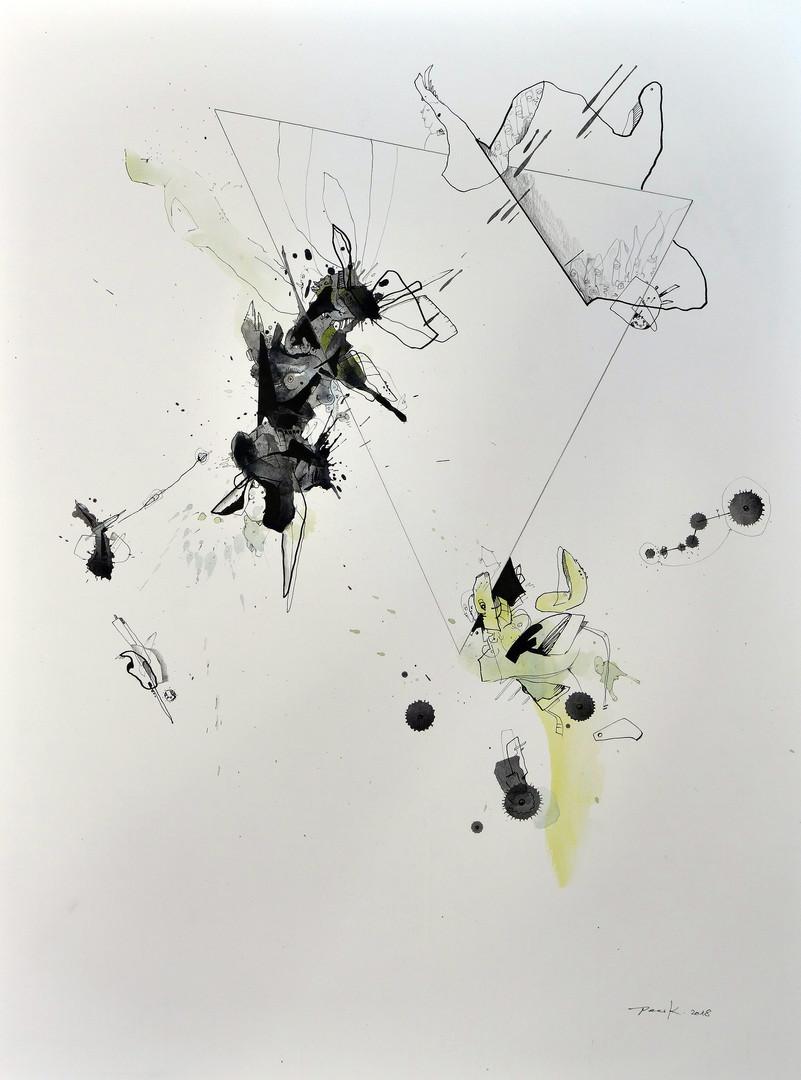 Versammlung Aquarell, Acryl, Pigmenttusche auf Papier 61 x 46 cm