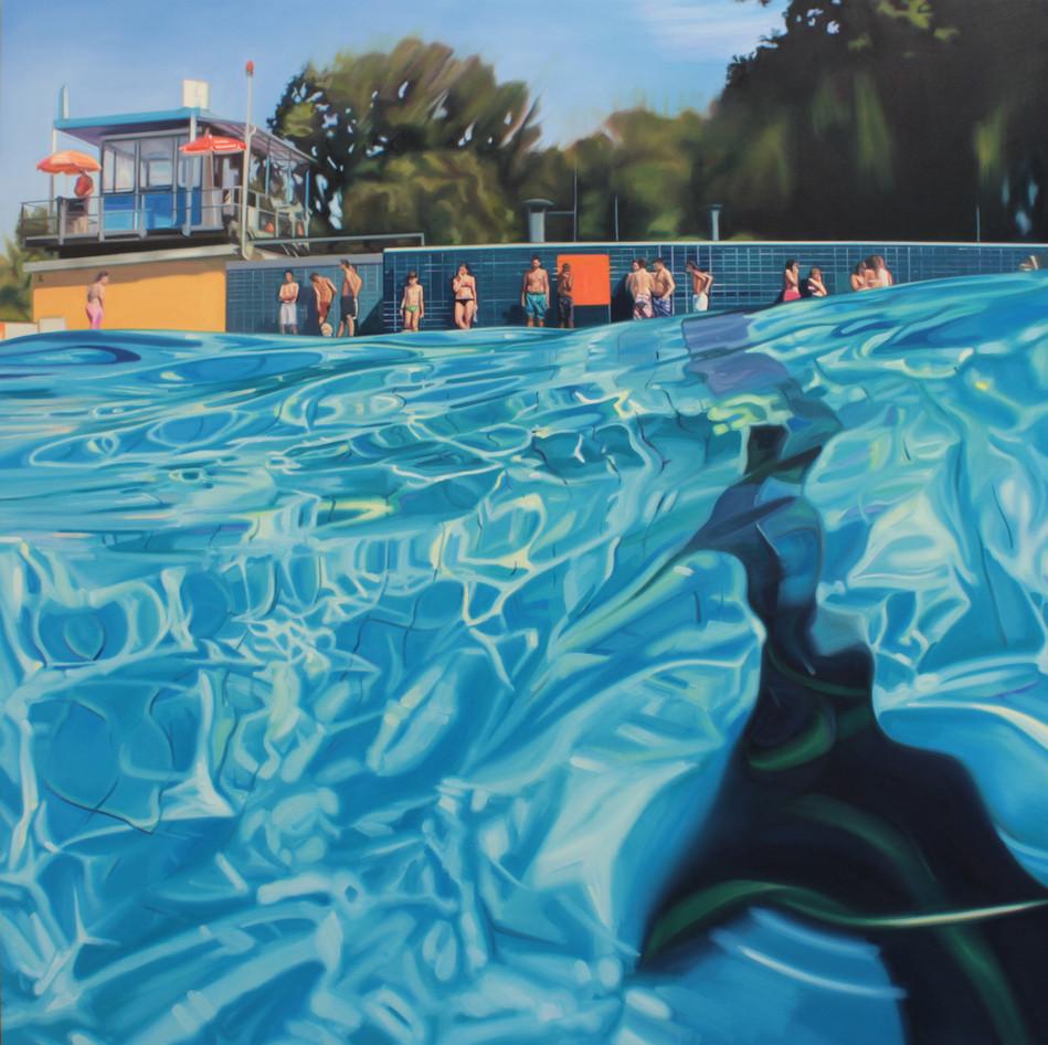 Cameron Rudd Prinzenbad 2017 Öl auf Leinwand 200 x 200 cm - verkauft -