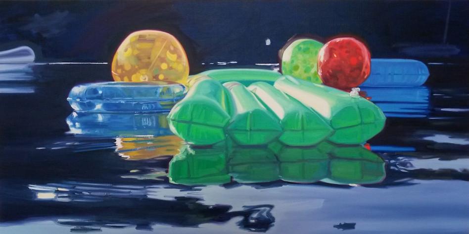 Cameron Rudd Green lilo 2016 50 x 100 cm - verkauft -