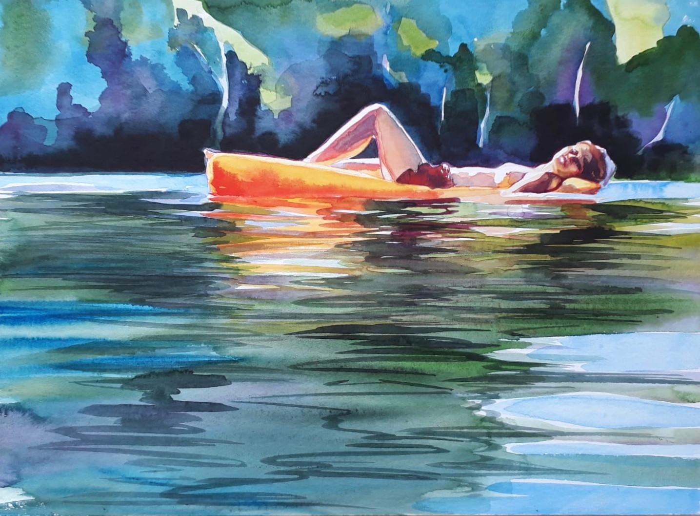 Cameron Rudd Schlachtensee III 2019 Aquarellfarbe auf Papier 50 x 60 cm gerahmt