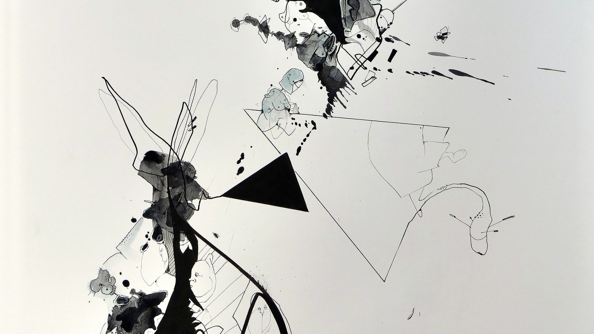 Peer Kriesel Frost 2018 Aquarell, Acryl, Pigmenttusche auf Papier 61 x 46 cm