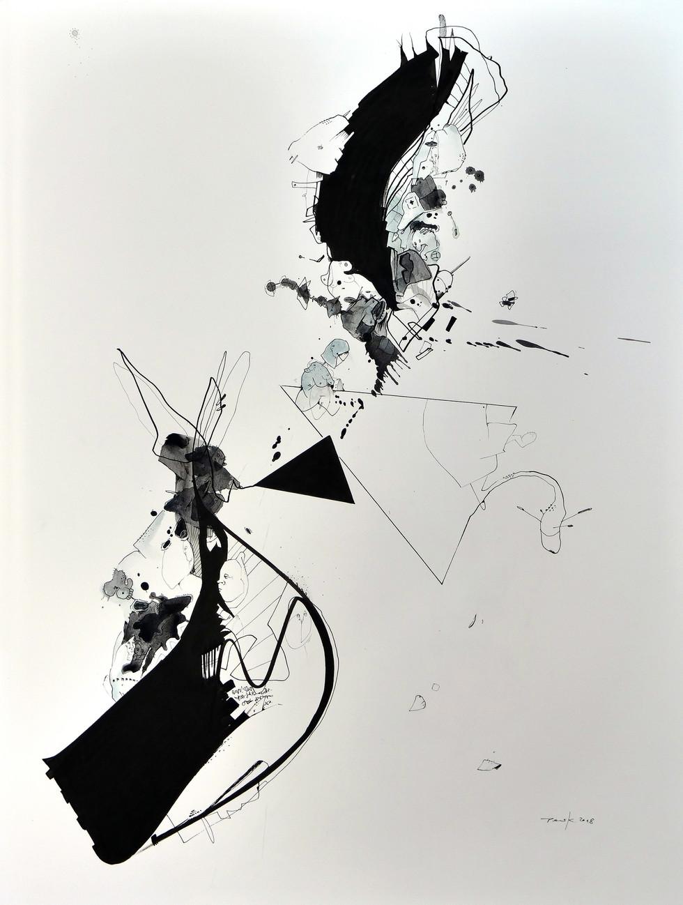 Frost 2018 Aquarell, Acryl, Pigmenttusche auf Papier 61 x 46 cm