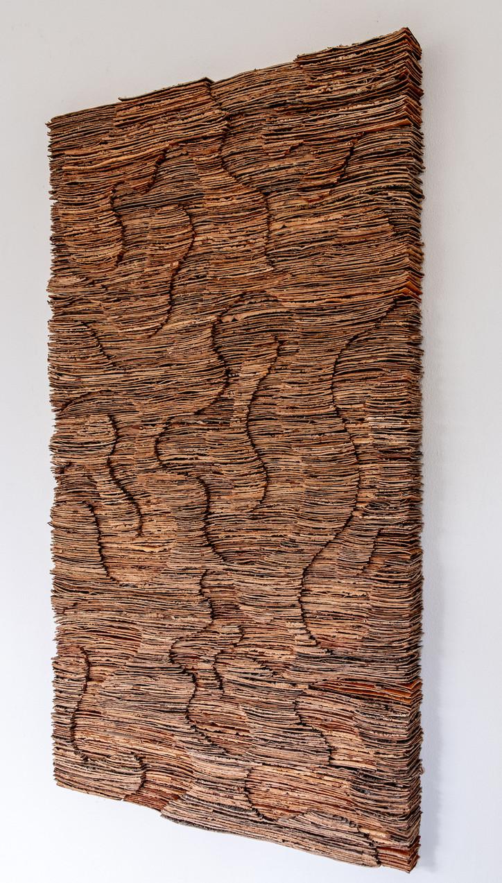 Hilde Trip Baumrinde auf Holz 140 x 80 cm