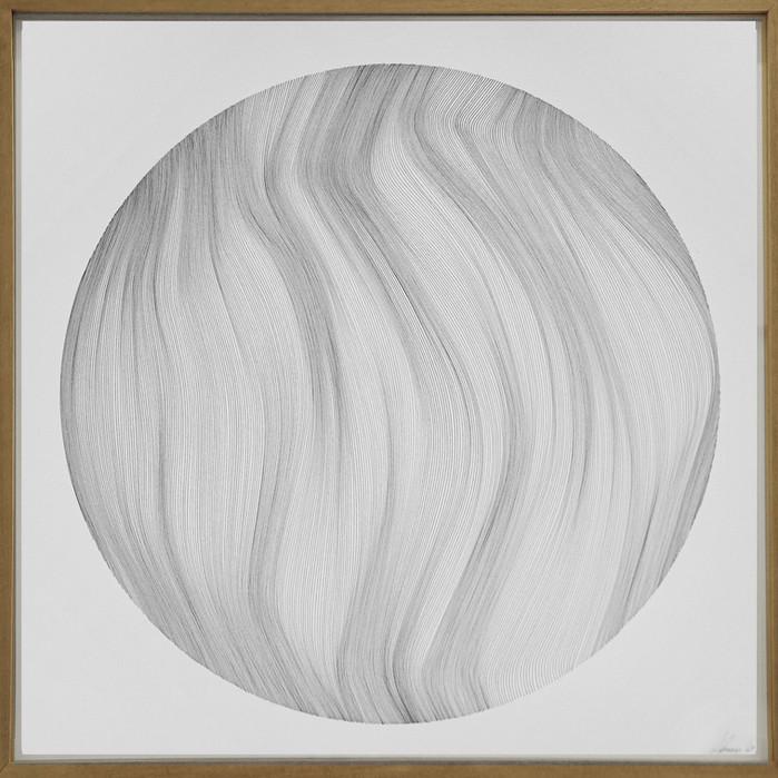 John Franzen Each Line one Breath Sphere 2019 Fineliner auf Papier 61 x 61 cm