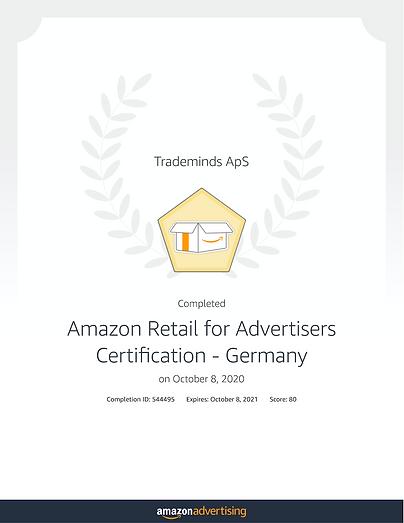 Amazon retail for advertisers Certifikat