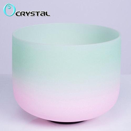 8 Inch Mint Green Light Pink Quartz Crystal Singing Bowl