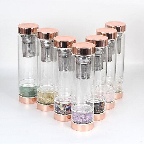 Glass Rose Gold Crystal Healing Bottle