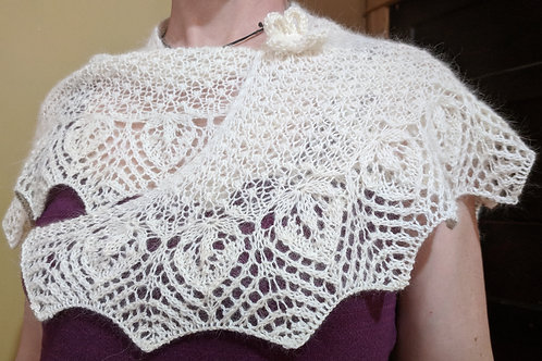Snowdrop Shawlette Designed by Amanda Carrigan, Knitted by Karin McTeague
