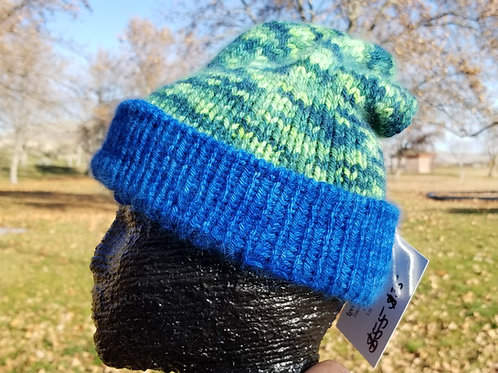 Blue Green Angora Hat Knitted by Tammy Vaughn