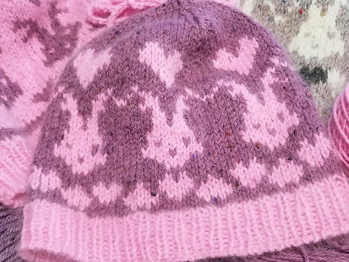 Bunny & Hearts Hat Knitting Pattern Download