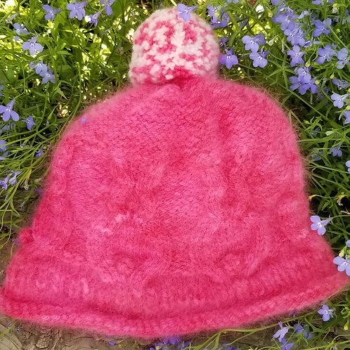Fuchsia Cabled Bunny Hat Designed and Knitted by Tammy Vaughn