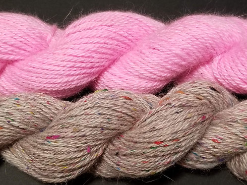 Bunny & Hearts Hat Kit Blushing Pink / Kissed With Pink Combo 85 yds per Skein