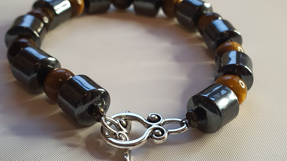 Hematite and Tigers Eye Chunky Bracelet (L)