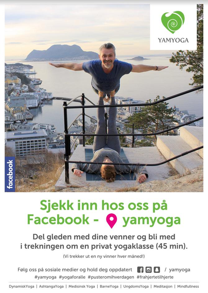 Sjekk inn hos oss på Facebook - og vinn en gratis, privat yogaklasse!