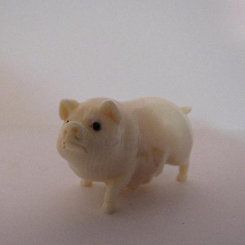 Delightful Carved Mother Pig Netsuke Sow Figurine