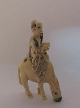 Signed Netsuke Japanese Man on Mule Donkey Antique Ornate Rare Detailed Carving