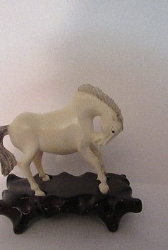 Rare Antique Horse Netsuke Figurine Carving Detailed and Elegant with Pedestal