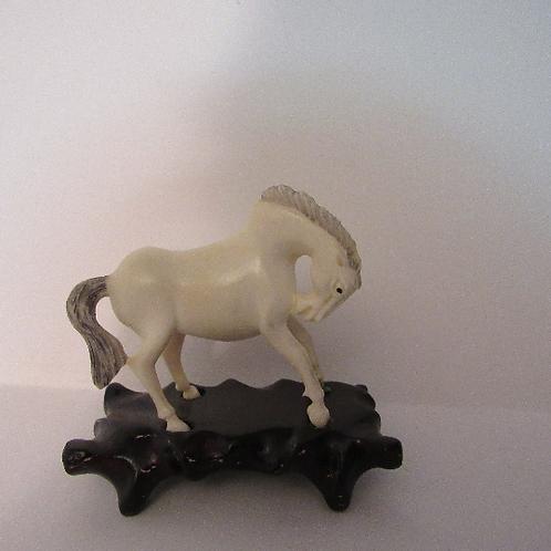 Rare Antique Horse Netsuke Figurine Carving Detailed and Elegant with Pedestal