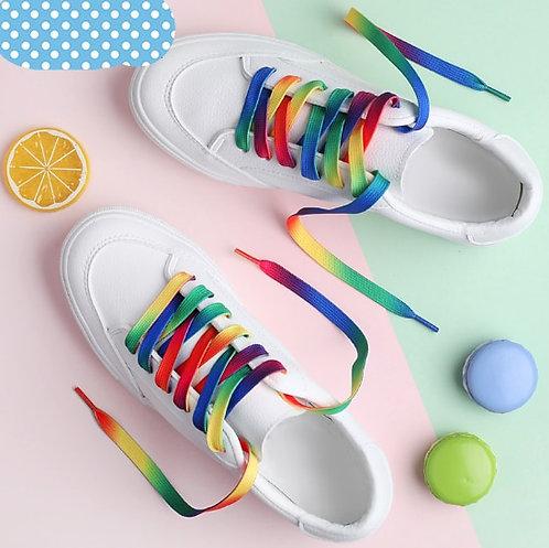 Low Price1piece Rainbow Multi-Colors Shoelace Flat Sports Shoe Laces Strings