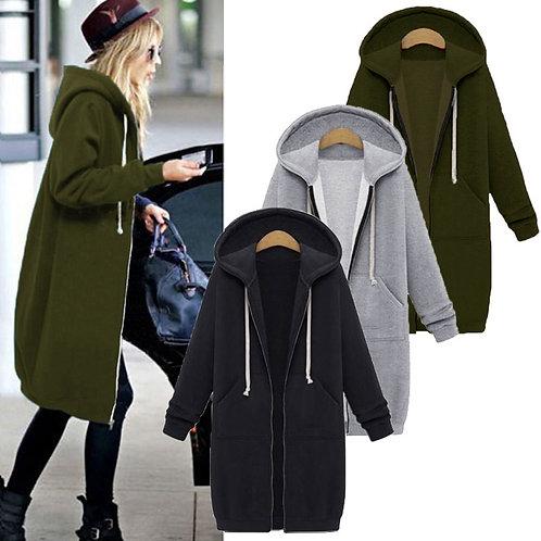 Once 2020 Autumn Casual Women Long Hoodies Sweatshirt Coat Zip Up
