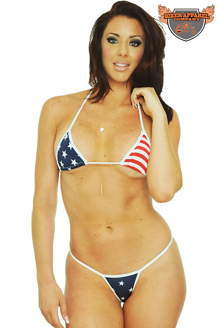Women's Made in USA Juniors Bikini USA Flag Micro Thong Only Swimwear