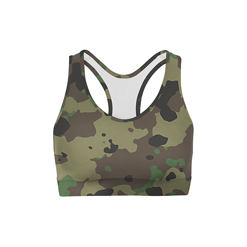 Dark Green Camo Sports Bra