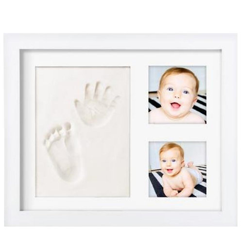 Premium Baby Handprint Kit by Laura Baby! NO MOLD! Baby Picture Frame (WHITE)