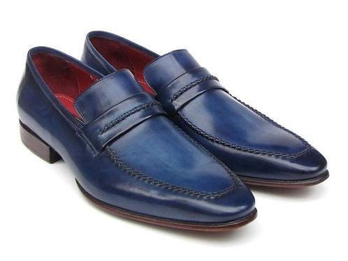 Paul Parkman Men's Loafer Shoes Navy Leather Upper and Leather Sole (ID#068-BLU)