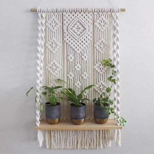 Plant Shelf  Wall Hanging Tapestry Macrame Wall Art Hand-Made Dyed
