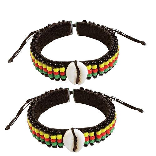 2 Pcs Jamaican Rasta Beads Bracelets for Men Women Beaded Bracelets