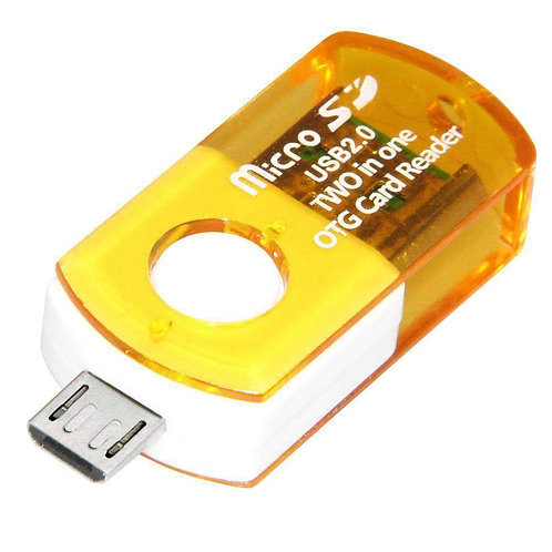 Micro USB to USB OTG Adapter with Micro SD Card Reader - Yellow