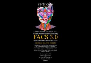 Certificação Internacional, como Codificadores da Face Humana pelo F-M Group International Neuro FAC